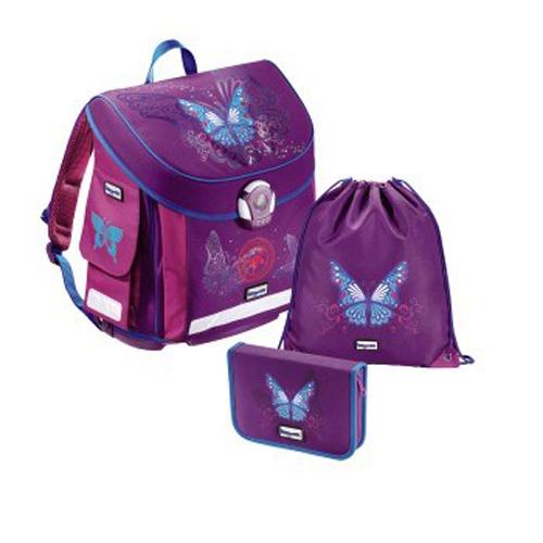 Baggymax školní aktovka- 3 - dílný set CANNY Motýl