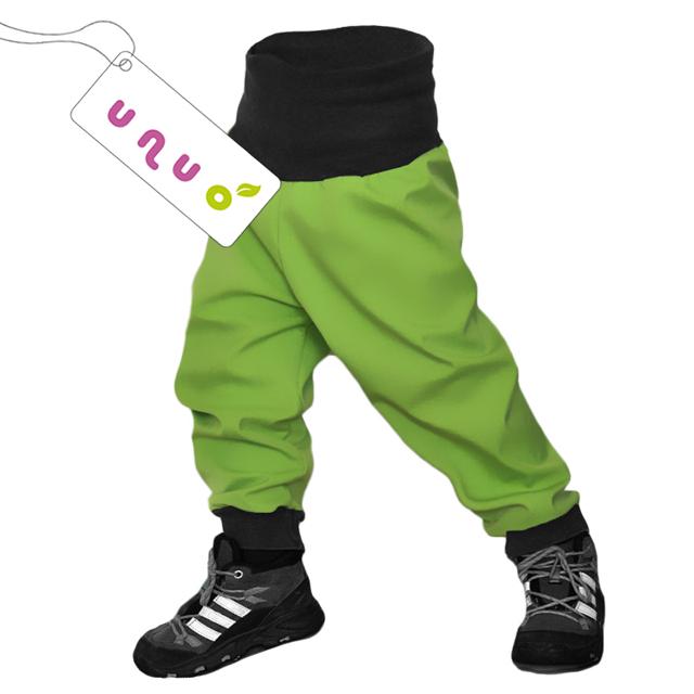 Unuo dětské softshellové kalhoty limetkové
