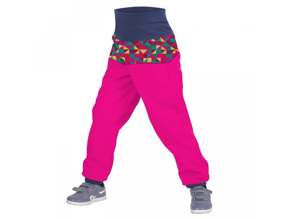 Unuo dětské softshellové kalhoty Triangl fuchsiové