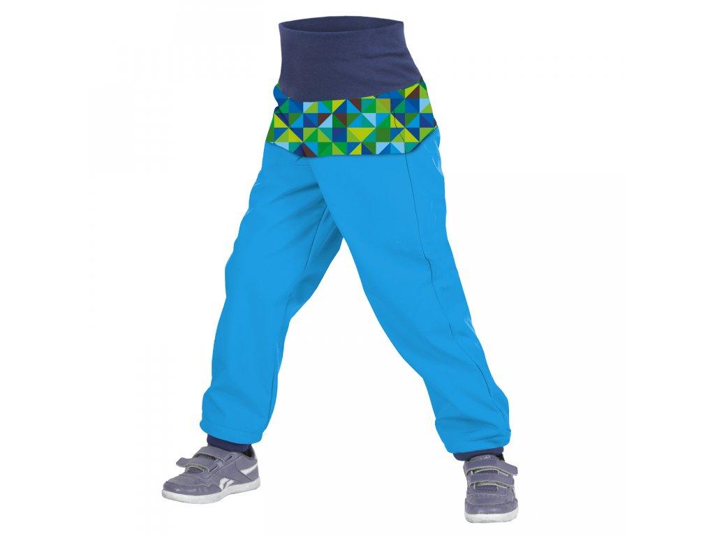 Unuo dětské softshellové kalhoty Triangl tyrkysové