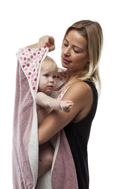Dětská osuška s kapucí - růžová
