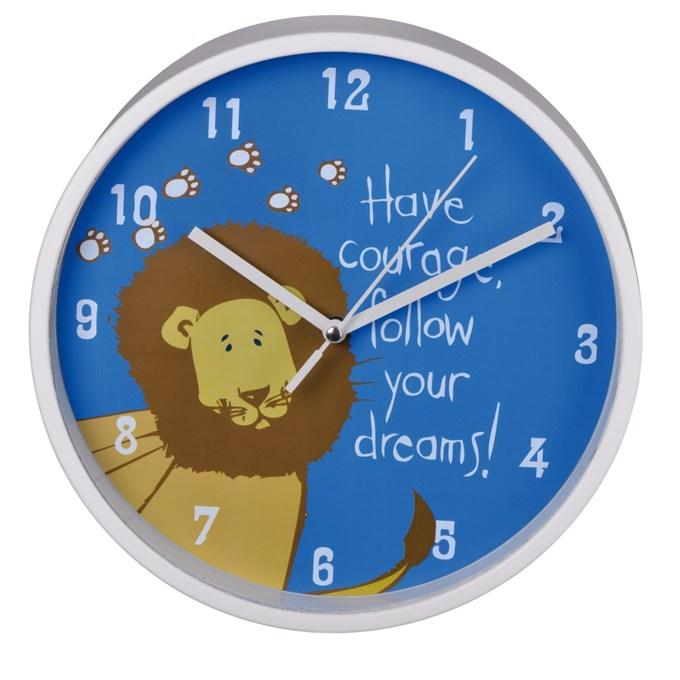 Dětské nástěnné hodiny Lev tichý chod