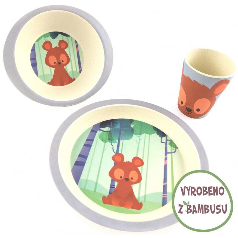 Pure Kids sada nádobí z bambusu - Medvěd