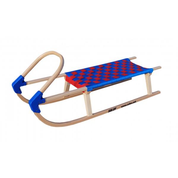 Dřevěné saně SULOV LAVINA, 110 cm, modro-červené