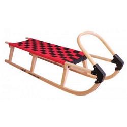 Dřevěné saně SULOV LAVINA, 125 cm, červeno-černé