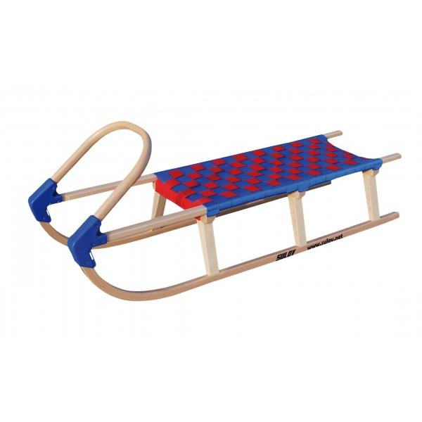 Dřevěné saně SULOV LAVINA, 125 cm, modro-červené