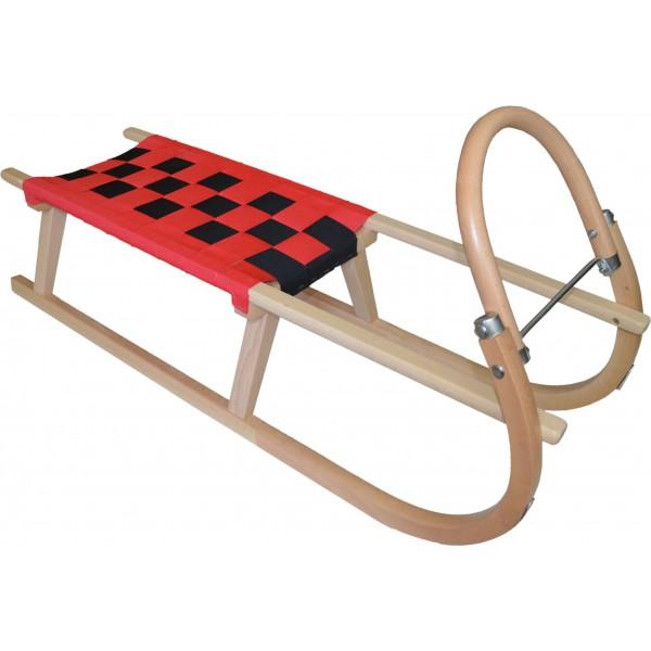 Dřevěné saně SULOV TATRA, 120 cm, červeno-černé